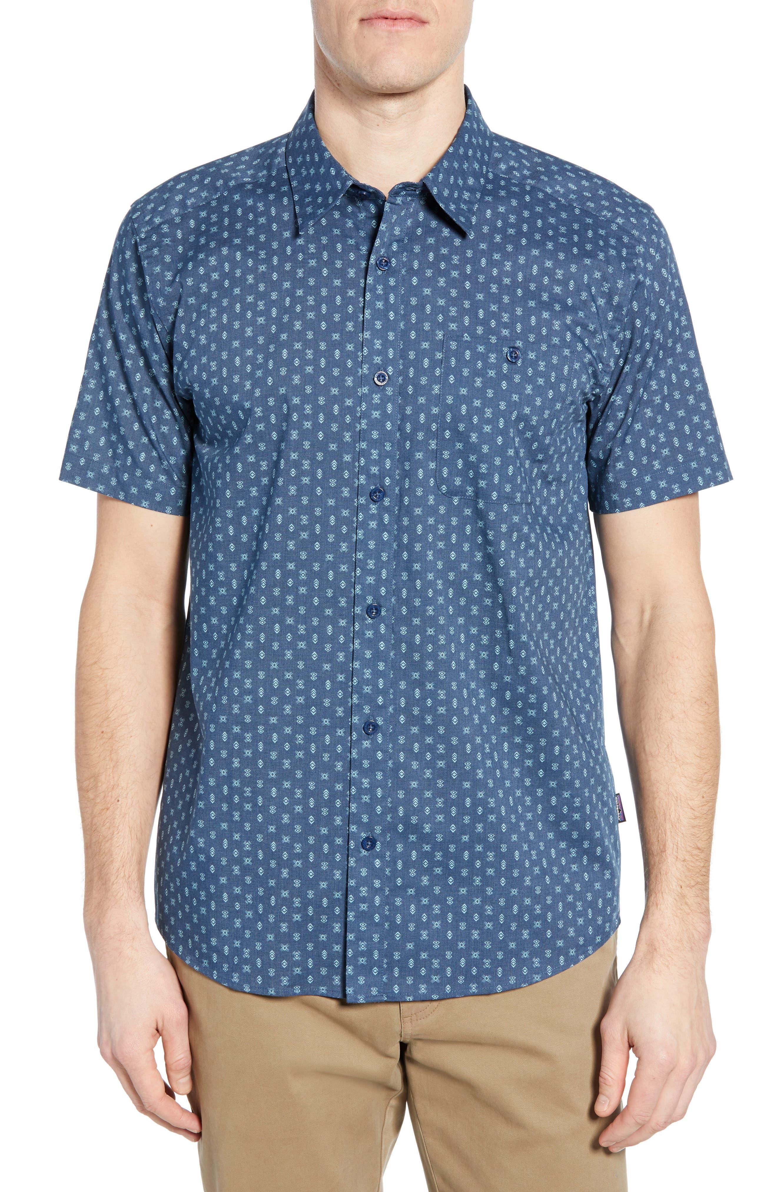 Patagonia Go To Regular Fit Short Sleeve Sport Shirt, Blue