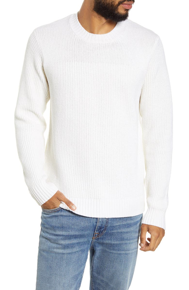BLDWN Minnelli Regular Fit White Crewneck Sweater, Main, color, 100