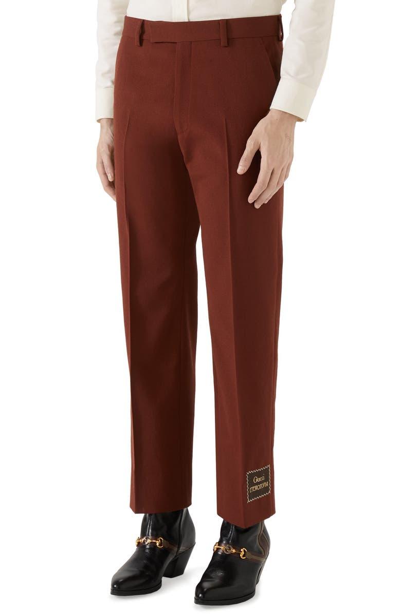 GUCCI Eterotopia Label Wool Blend Canvas Pants, Main, color, 600