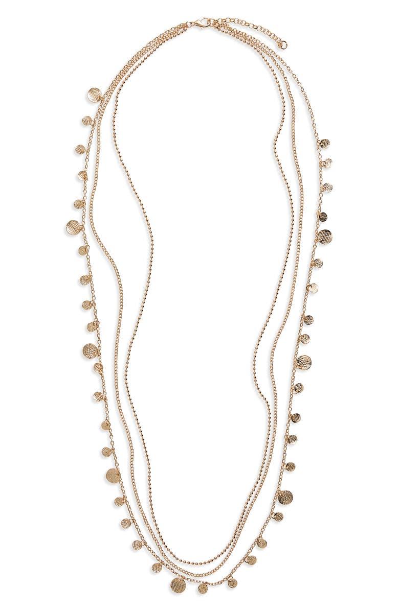PANACEA Multistrand Disc Charm Necklace, Main, color, Gold