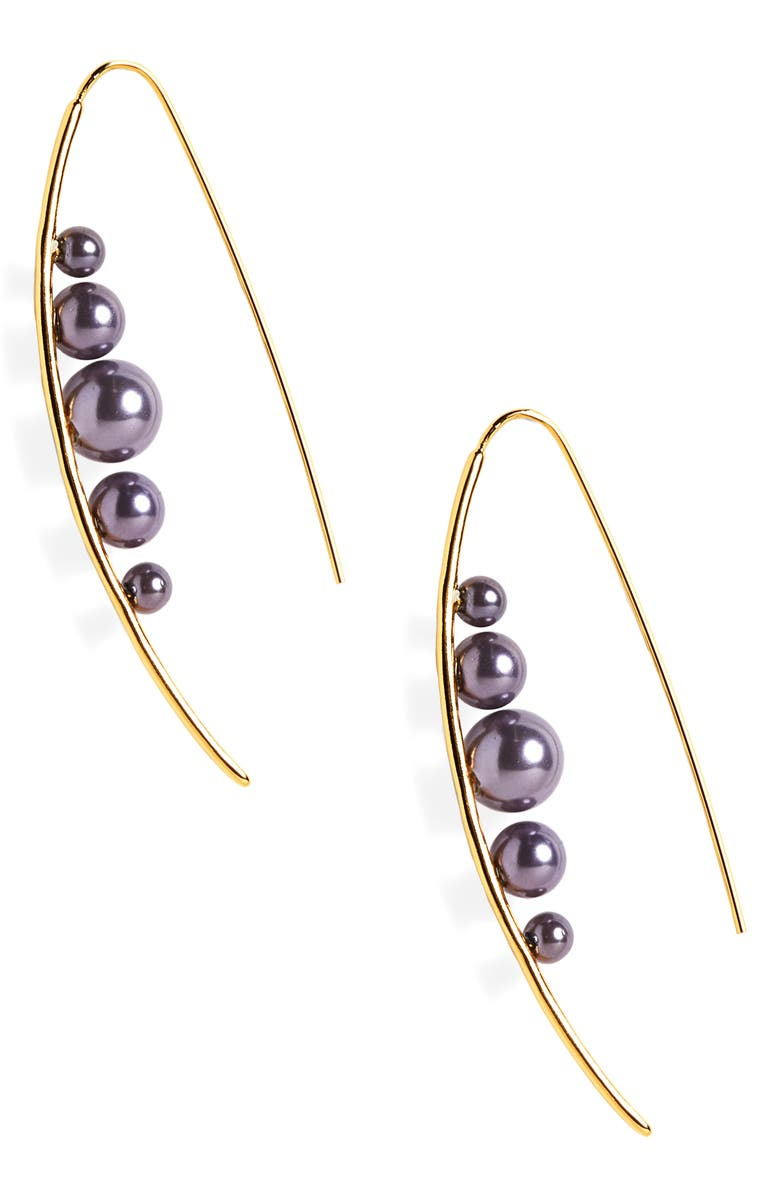 STERLING FOREVER Imitation Pearl Threader Earrings, Main, color, SMOKEY GREY