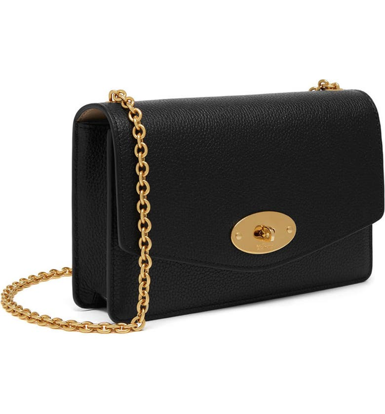 MULBERRY Small Darley Leather Clutch, Main, color, 001