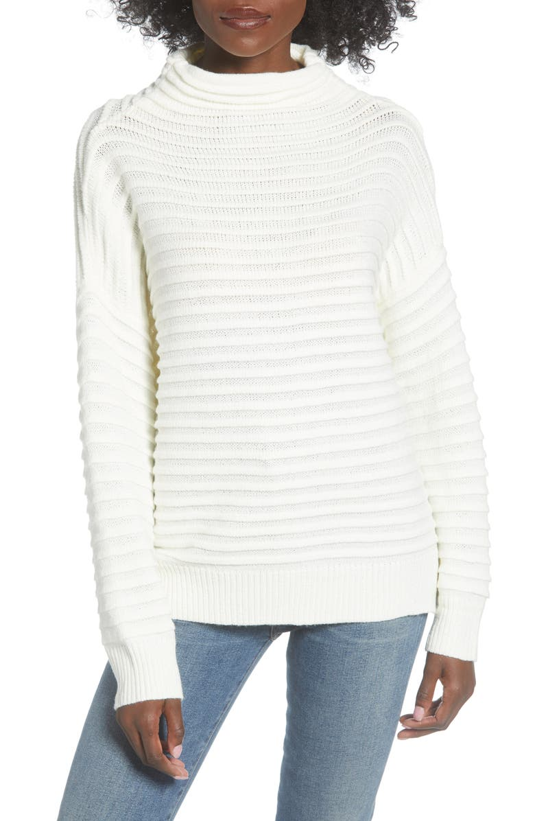 ALL IN FAVOR Funnel Neck Sweater, Main, color, IVORY
