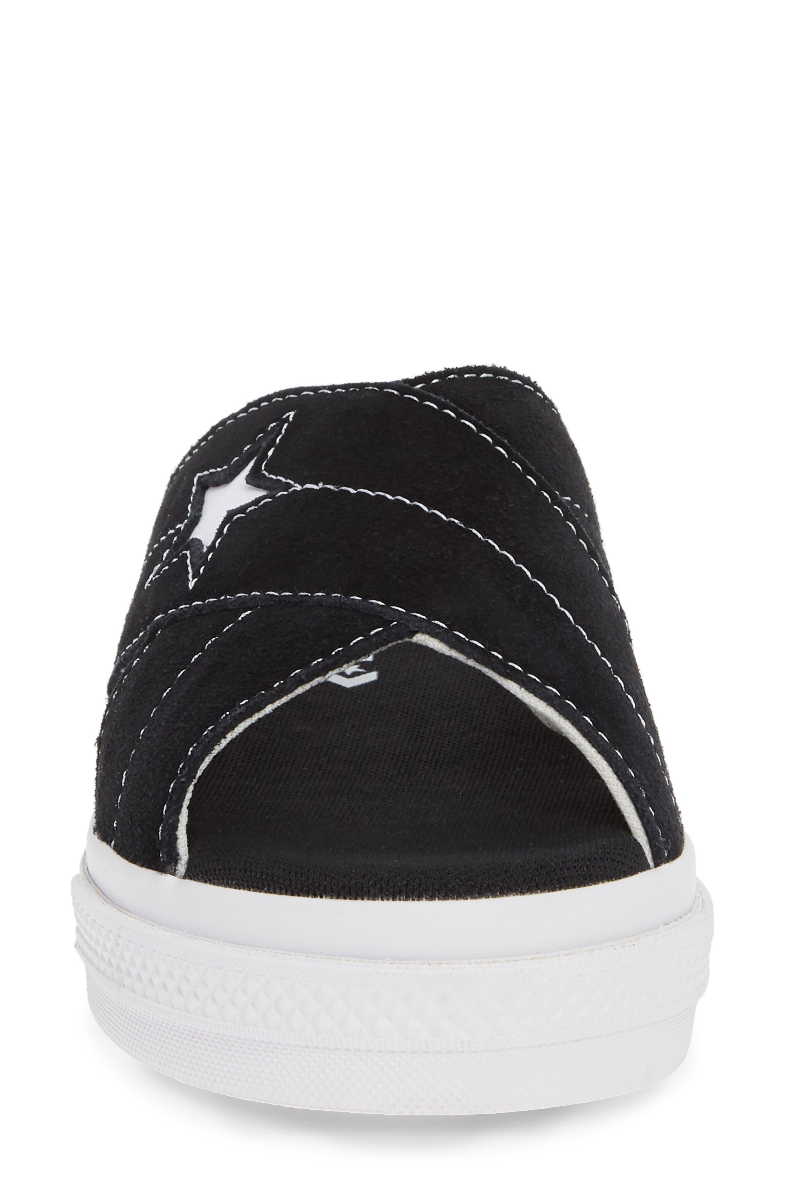 ,                             One Star Platform Slide Sandal,                             Alternate thumbnail 4, color,                             BLACK/ EGRET/ WHITE
