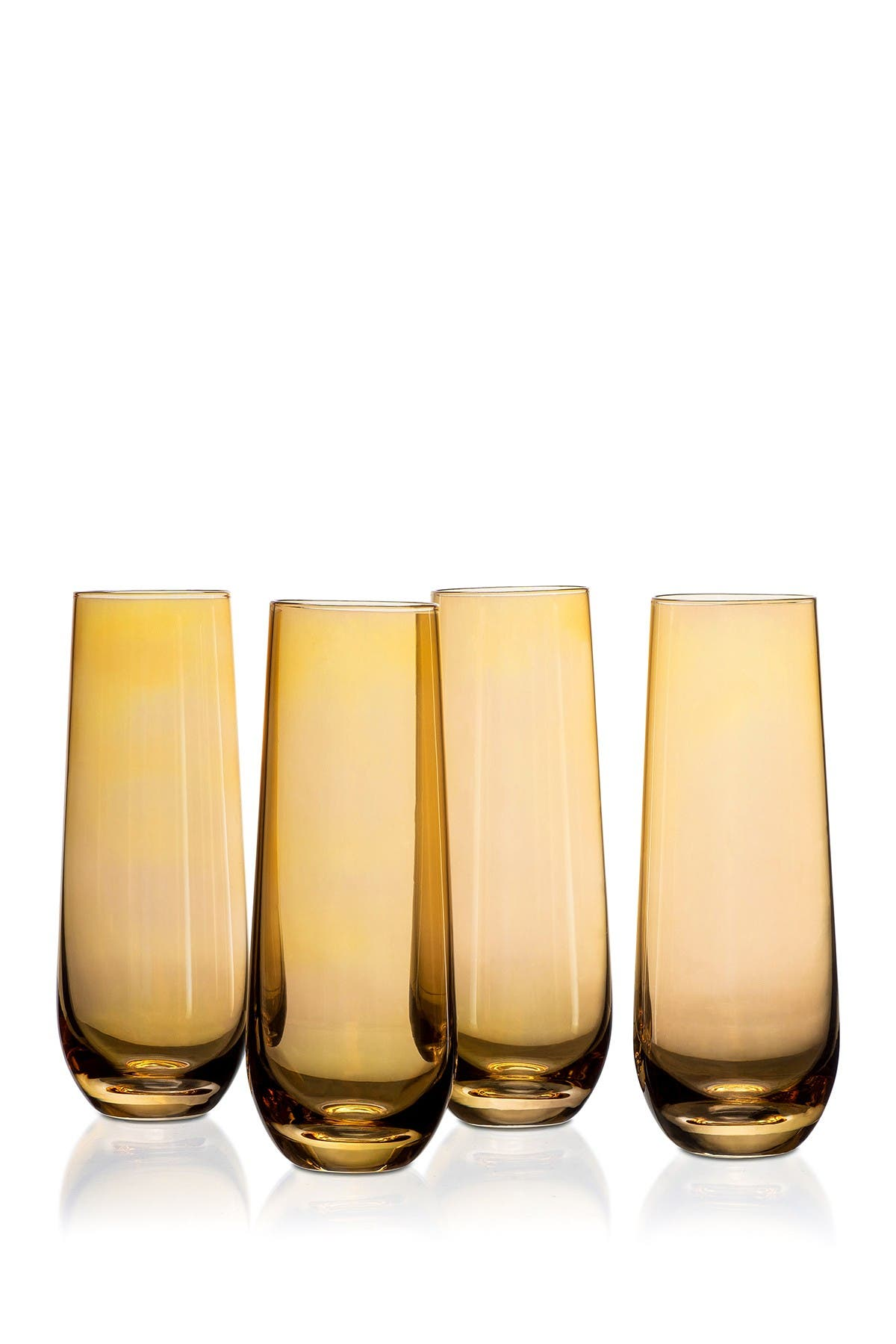 Image of Jay Import Amber Luster Stemless Flutes - Set of 4