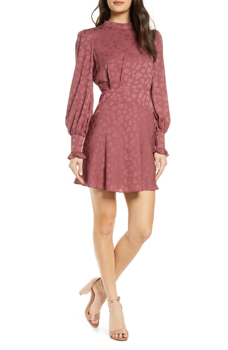 EVER NEW Floral Jacquard Long Sleeve Minidress, Main, color, DUSTY ROSE