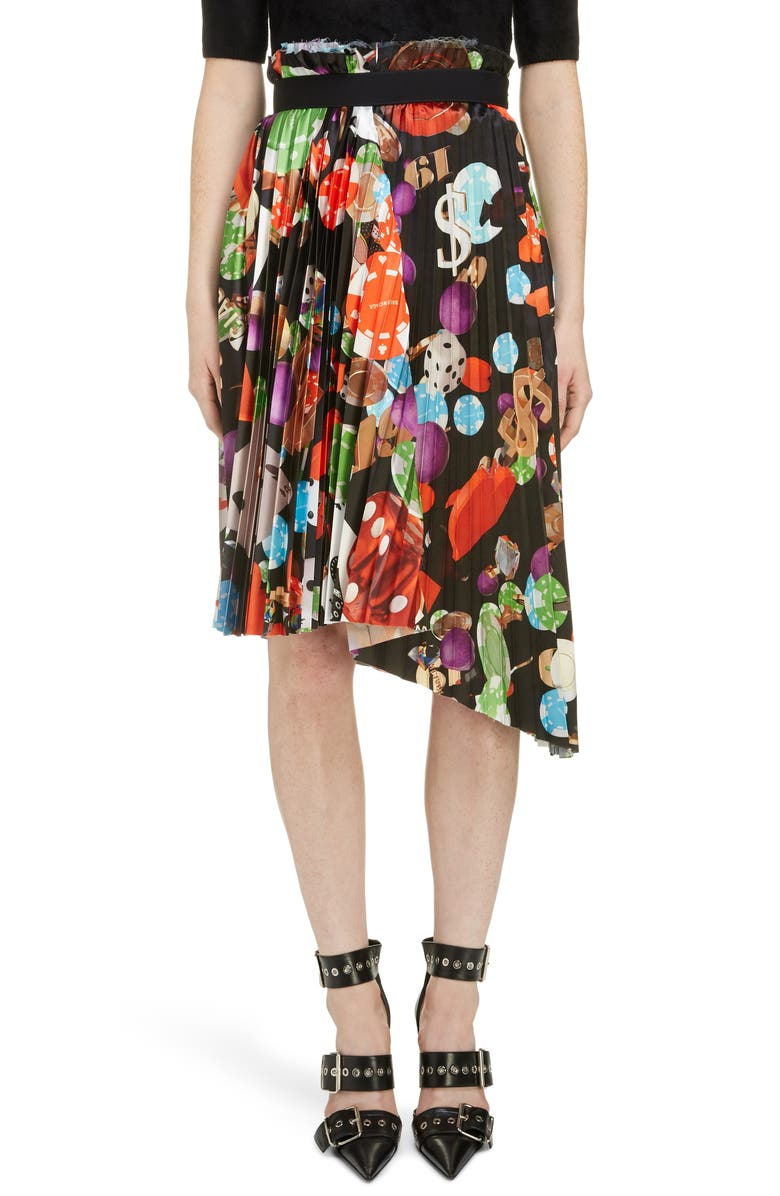 BALENCIAGA Casino Print Asymmetrical Skirt, Main, color, 600