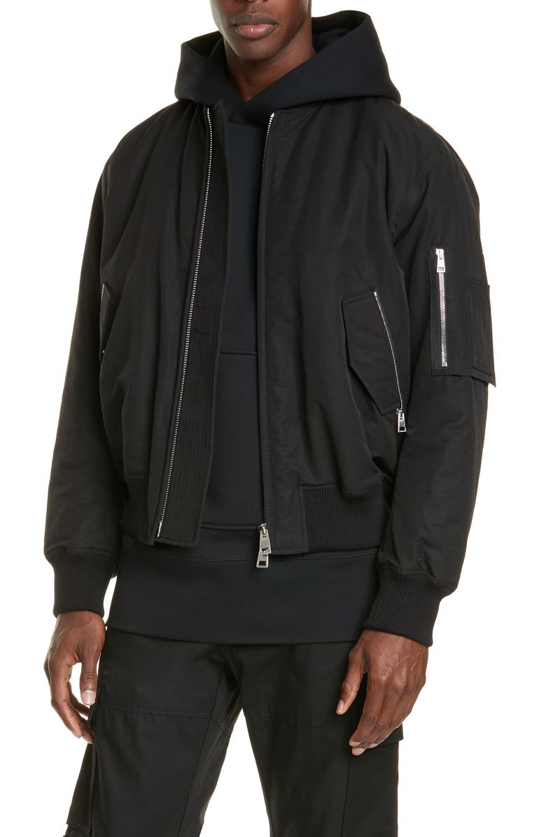 BOTTEGA VENETA Bomber Flight Jacket, Main, color, NERO