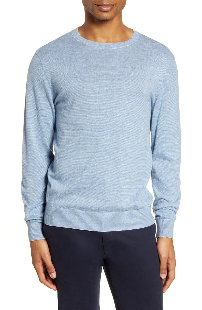 BONOBOS Pinstripe Crewneck Sweater, Main, color, BLUE FEEDER STRIPE
