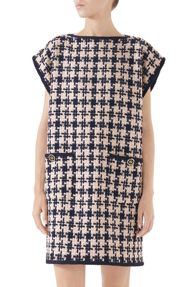 GUCCI Tweed Dress, Main, color, INK/ NATURAL WHITE