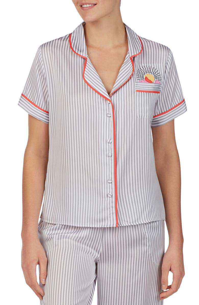 ROOM SERVICE Notch Collar Top, Main, color, GREY/ CAMEO STRIPE