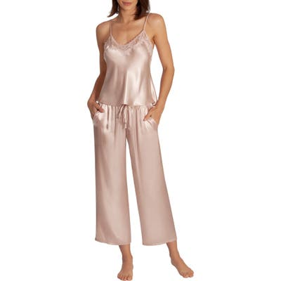 In Bloom By Jonquil Picture Perfect Satin Crop Pajamas, Pink