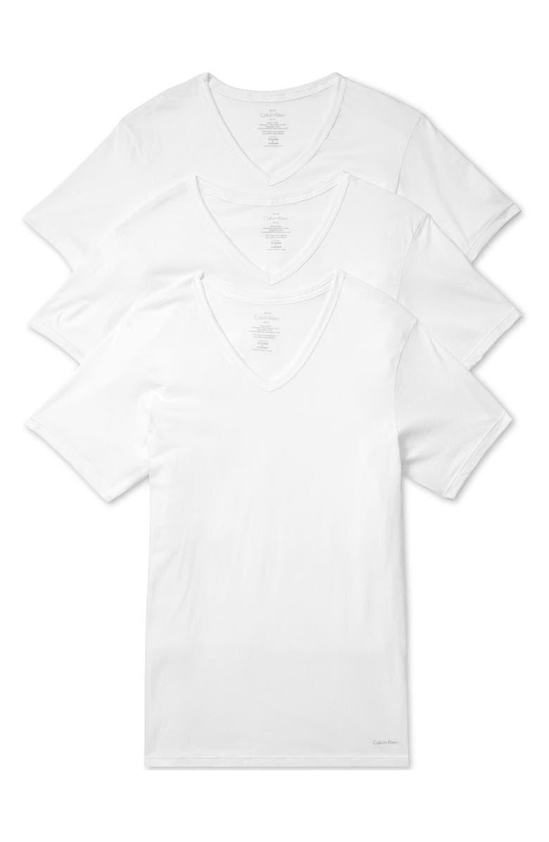 CALVIN KLEIN Slim Fit 3-Pack Cotton T-Shirt, Main, color, 100
