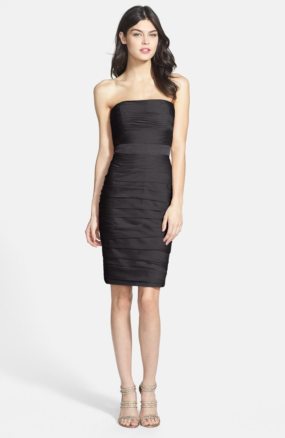 ,                             Ruched Strapless Cationic Chiffon Dress,                             Alternate thumbnail 2, color,                             001