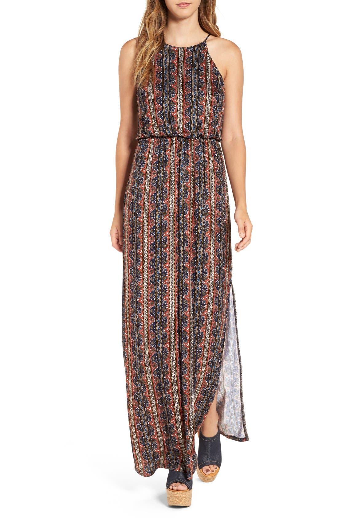 ,                             High Neck Maxi Dress,                             Main thumbnail 102, color,                             402