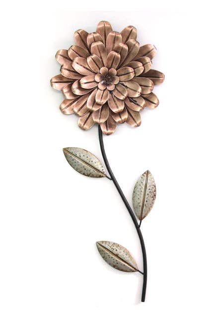 Image of Stratton Home Pink/Green Romantic Flower Stem Wall Decor