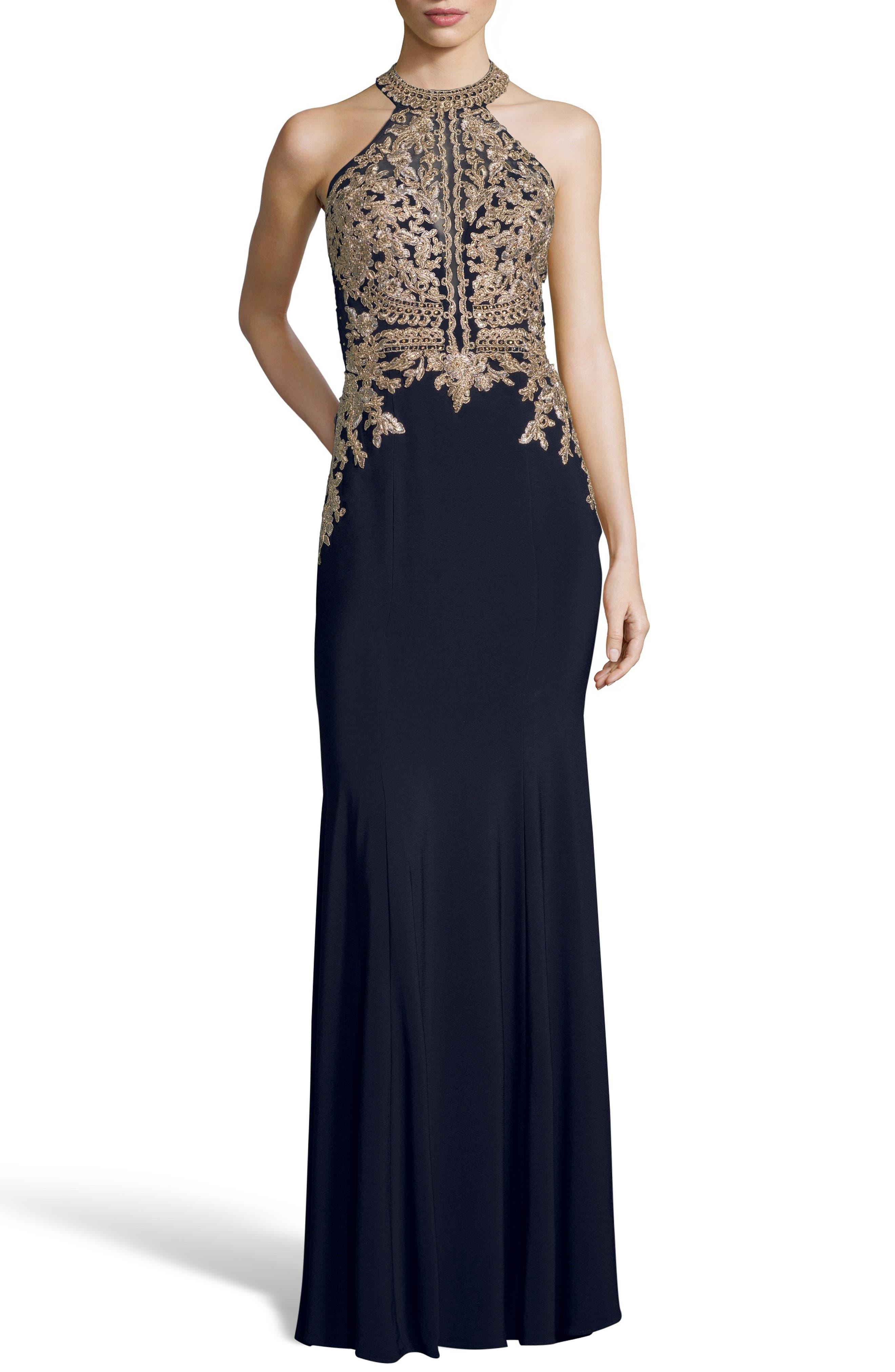Xscape Lace Applique Open Back Evening Dress, Blue