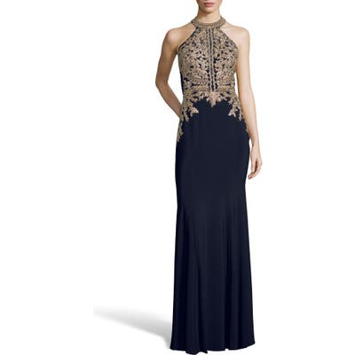 Xscape Lace Applique Open Back Evening Dress, Blue