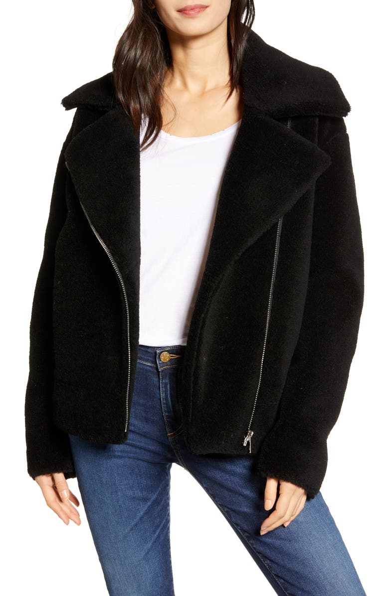 REBECCA MINKOFF Brutus Wool Moto Jacket, Main, color, 001