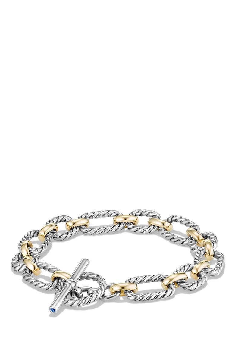 DAVID YURMAN 'Chain' Cushion Link Bracelet with Sapphires & 18K Gold, Main, color, 400