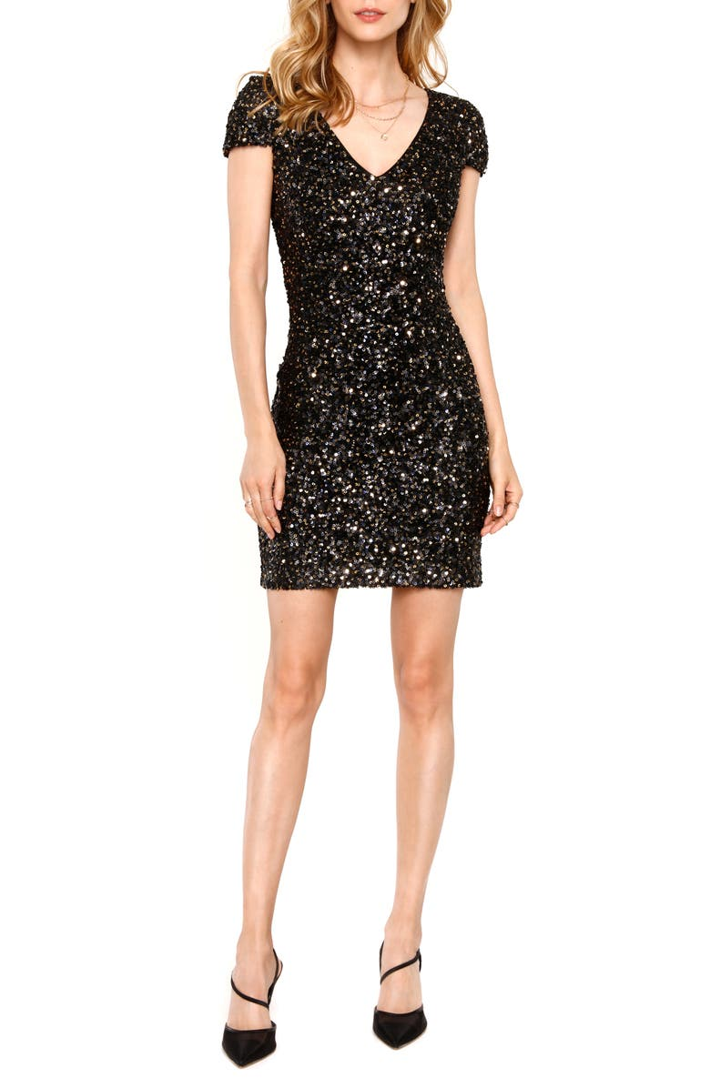 HEARTLOOM Kaley Sequin Short Sleeve Bodycon Dress, Main, color, ONYX
