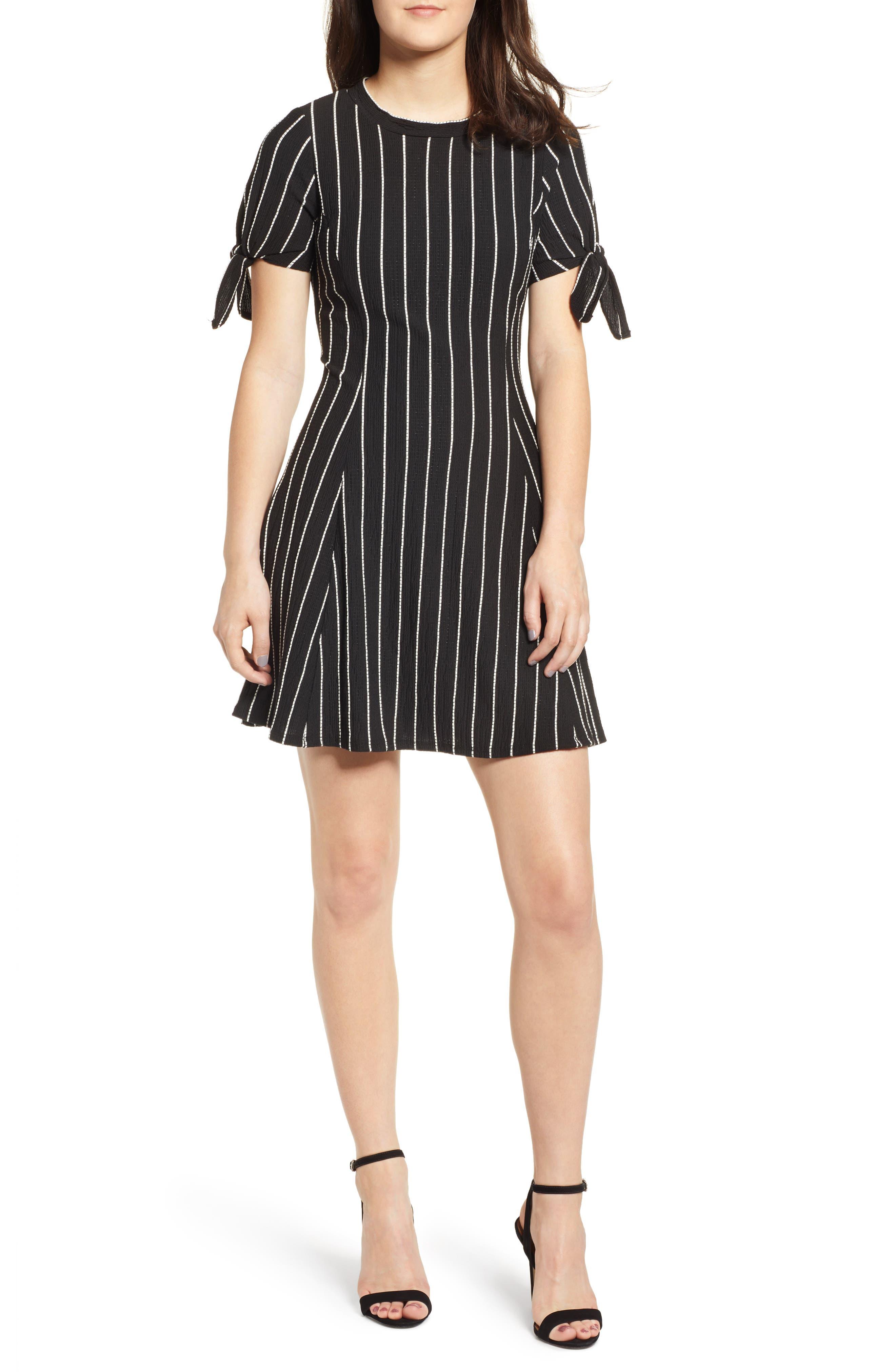 Speechless Stripe A-Line Dress, Black