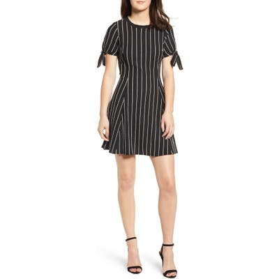 Speechless Stripe A-Line Dress, Black