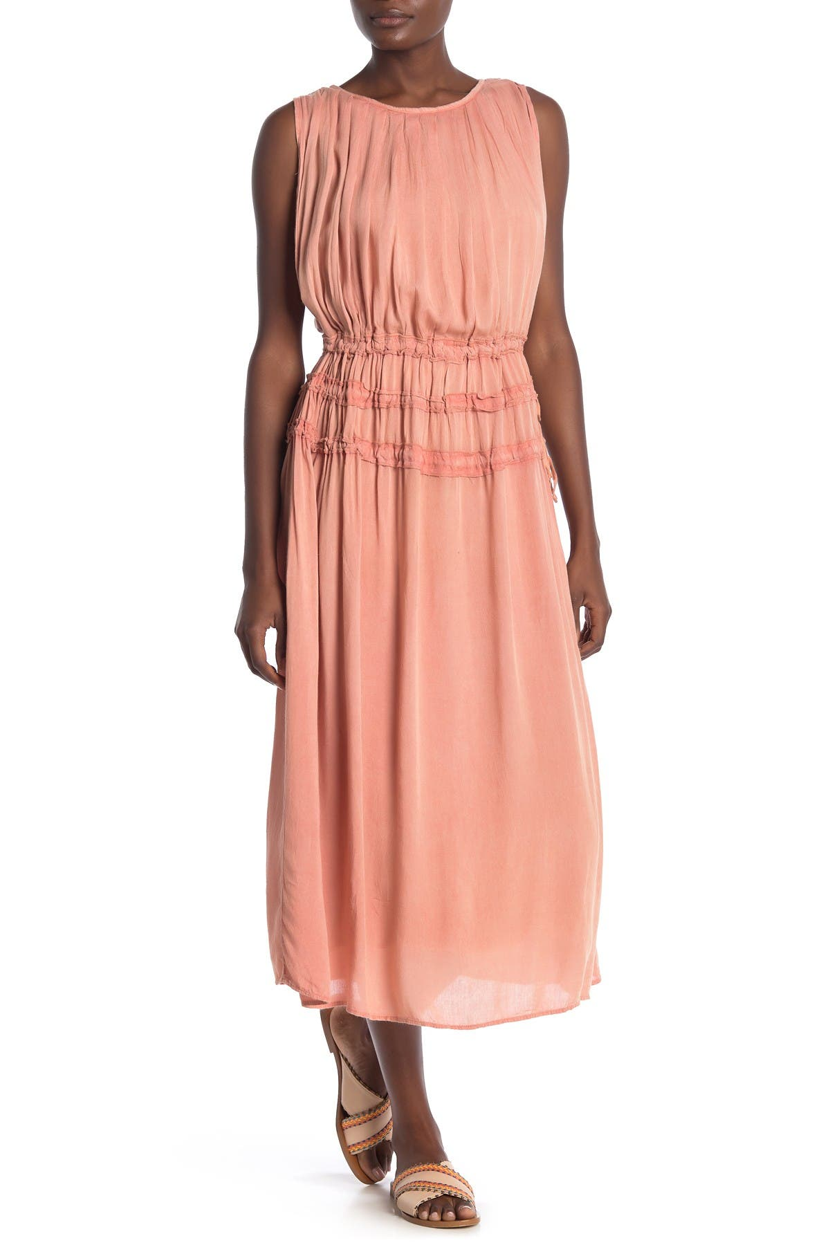 Image of BOHO ME Smocked Waist Cover-Up Midi Dress