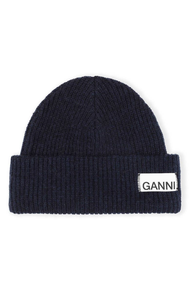 GANNI Ribbed Wool Blend Beanie, Main, color, TOTAL ECLIPSE