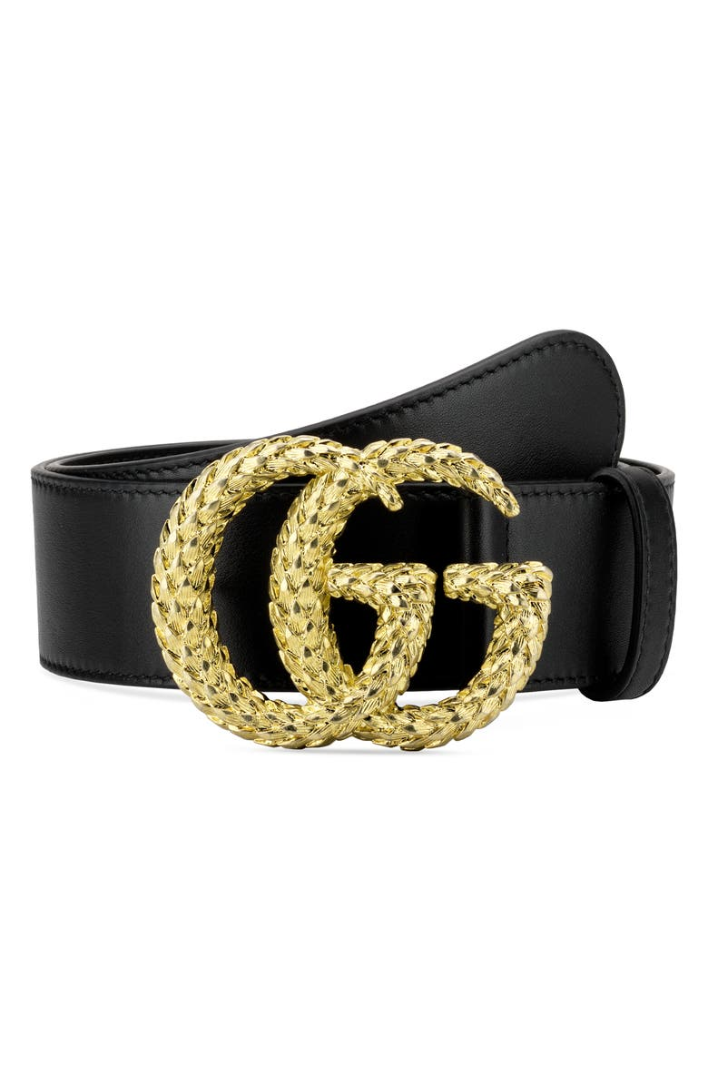 GUCCI GGTextured Logo Buckle Leather Belt, Main, color, NERO