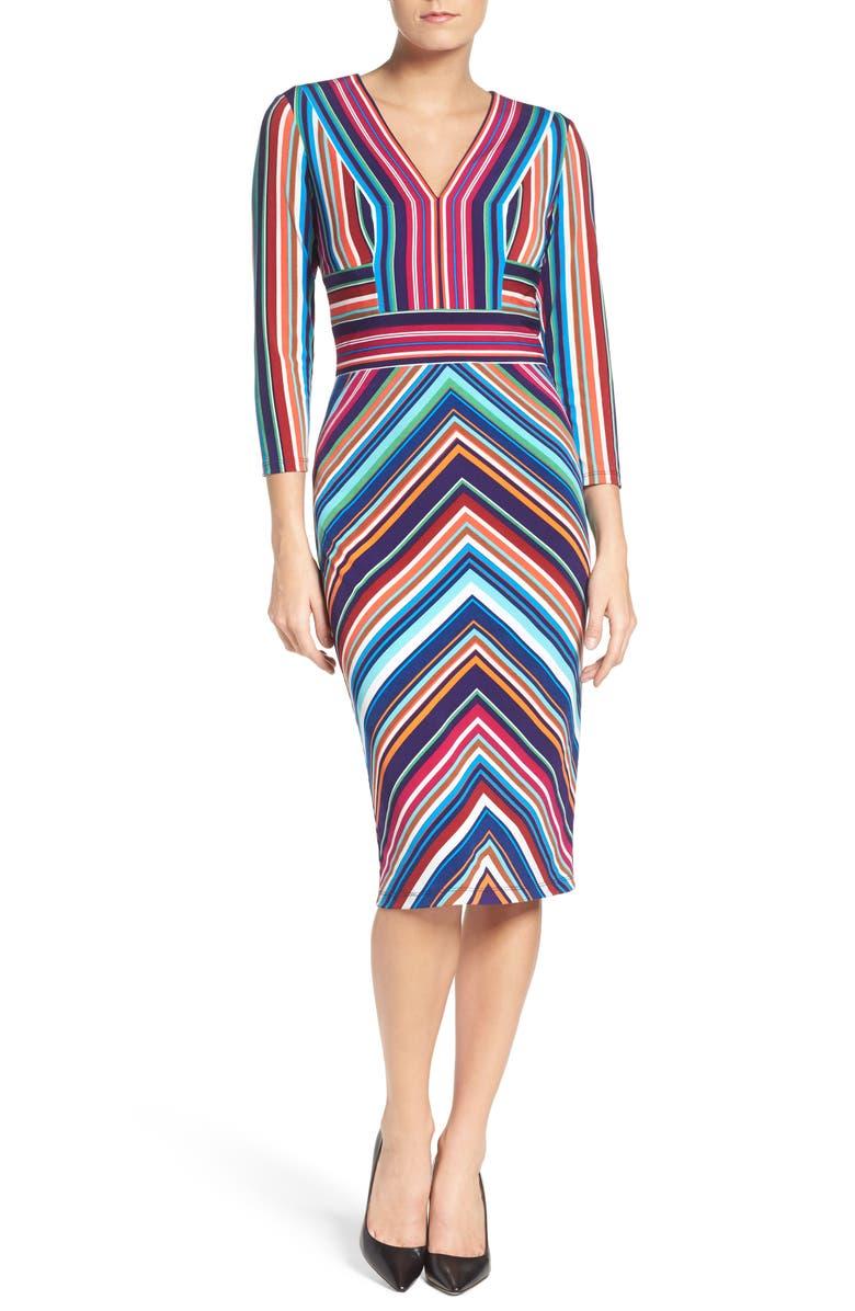 MAGGY LONDON Stripe Midi Dress, Main, color, 415