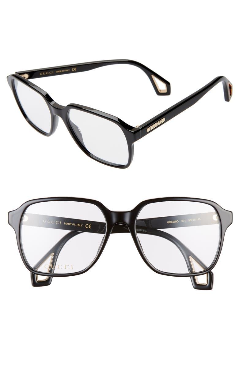 GUCCI 56mm Square Optical Glasses, Main, color, 001