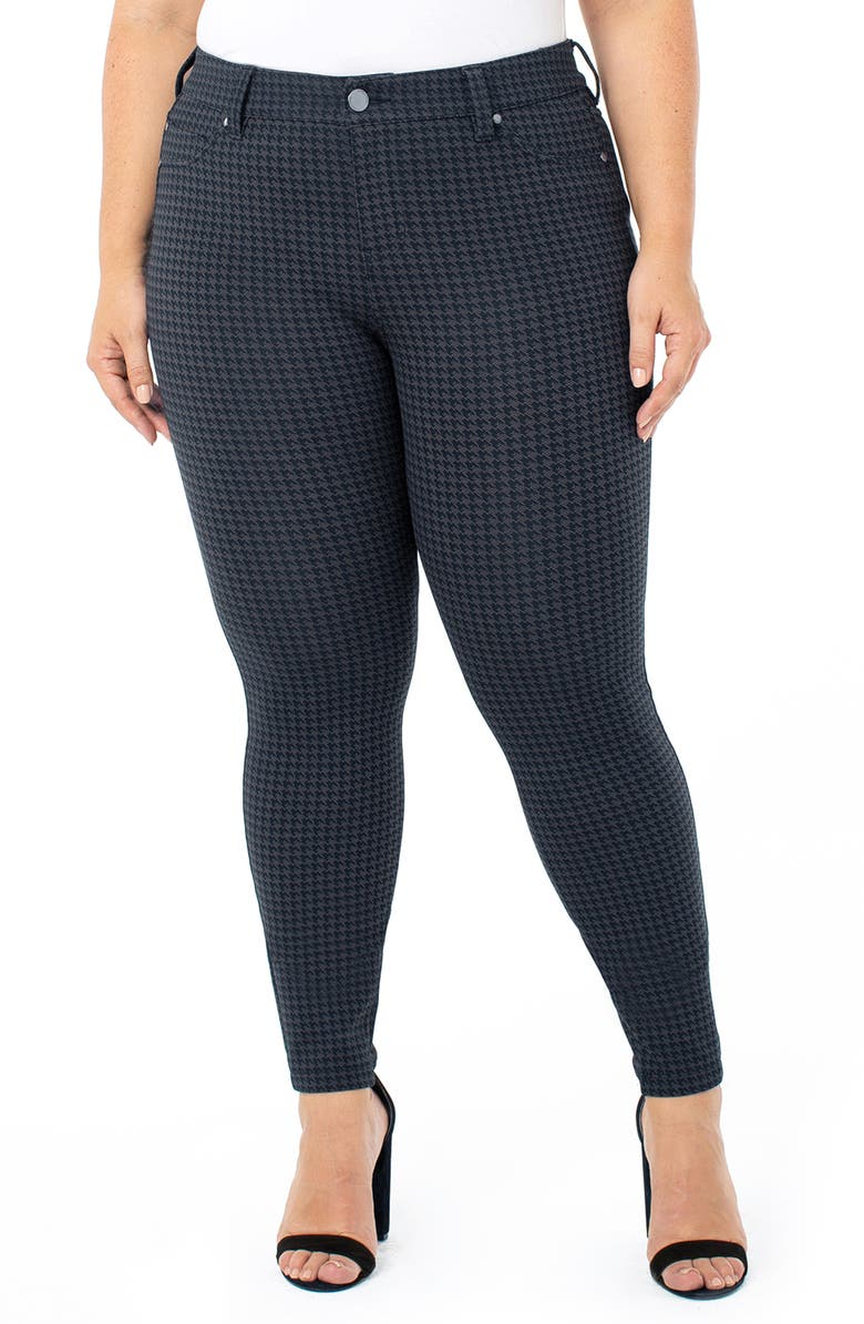 LIVERPOOL Madonna Houndstooth Check Skinny Pants, Main, color, NIGHT SKY BLUE