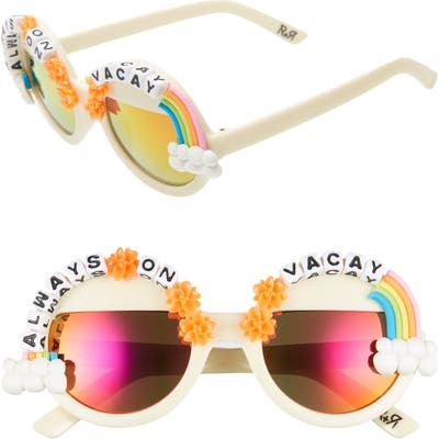 Rad + Refined Always On Vacay Rainbow Round Sunglasses - Cream/ Multi