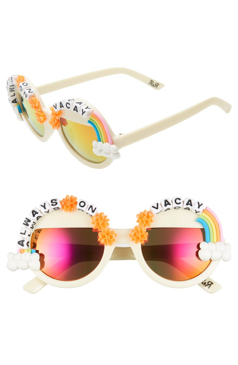 RAD + REFINED Always on Vacay Rainbow Round Sunglasses, Main, color, CREAM/ MULTI
