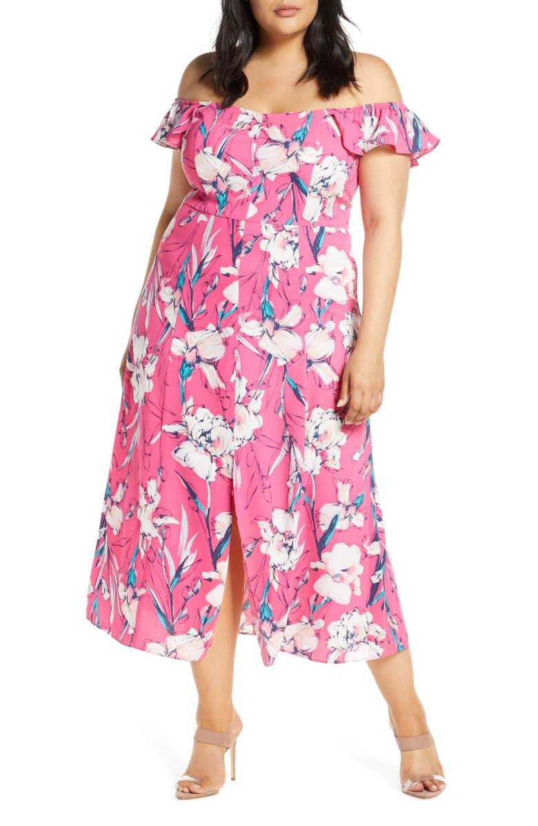LEITH Floral Print Ruffle Flounce Dress, Main, color, PINK MAGENTA INKED IRIS