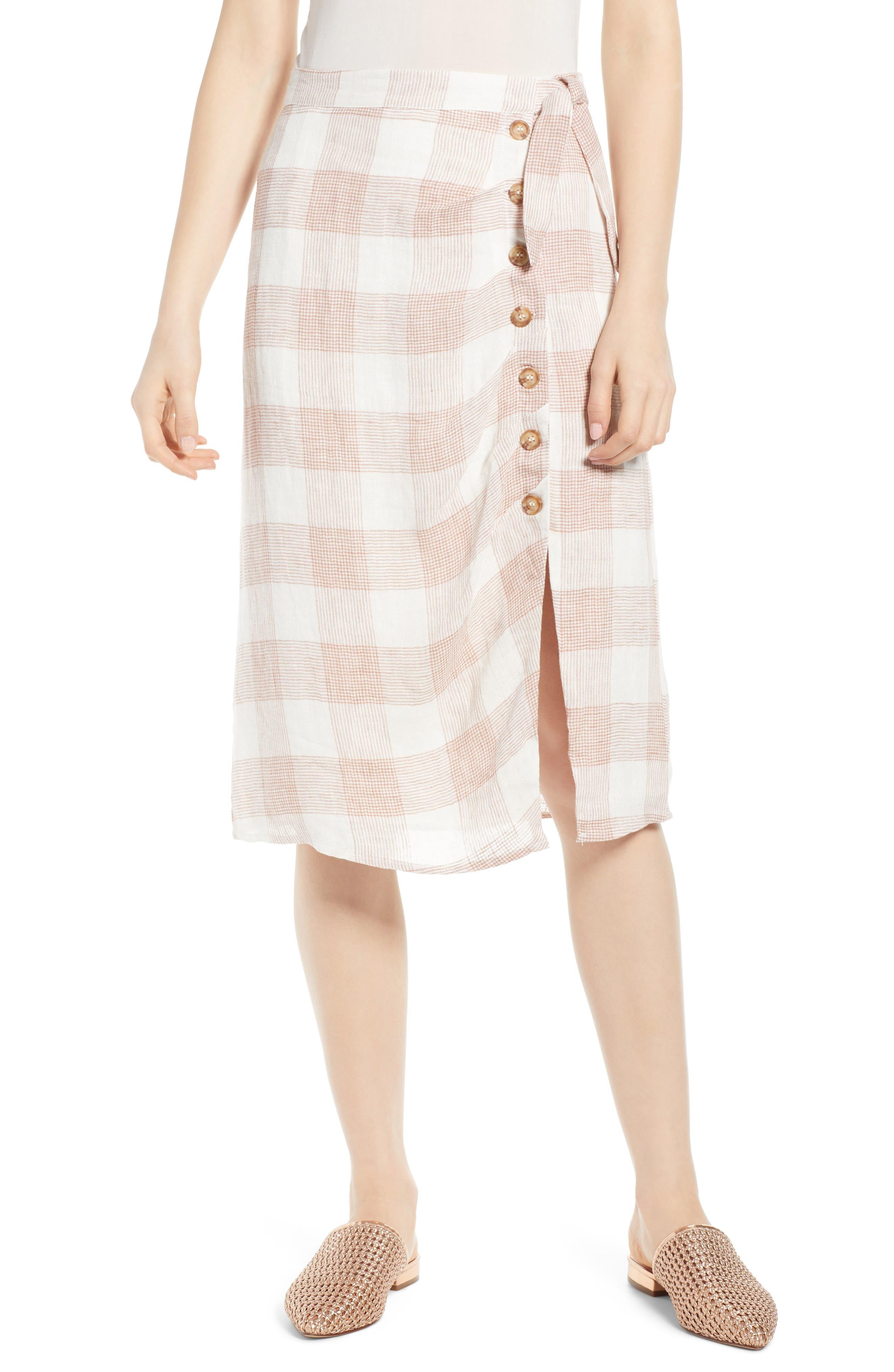 Heartloom Bently Plaid Skirt, White