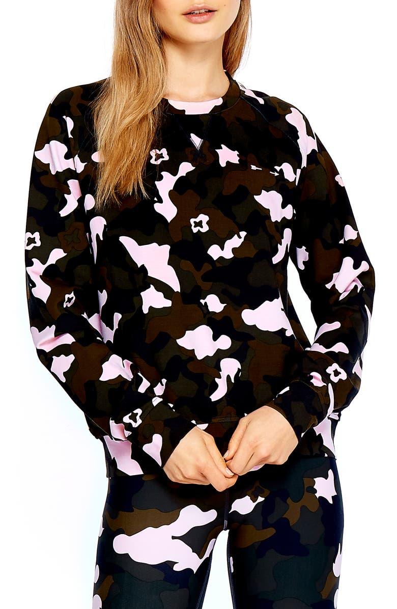 THE UPSIDE Forest Camo Bondi Crewneck Sweatshirt, Main, color, 300