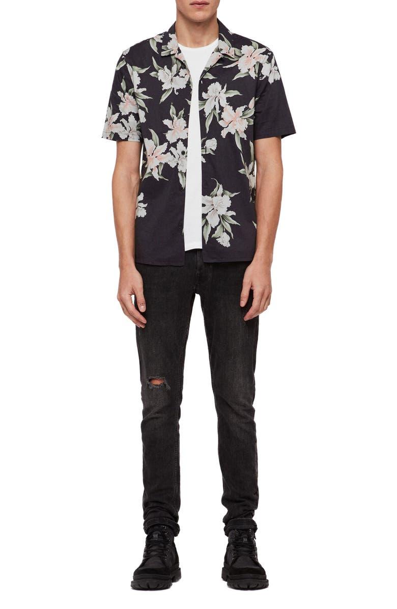 ALLSAINTS Layback Print Slim Fit Camp Shirt, Main, color, WASHED BLACK