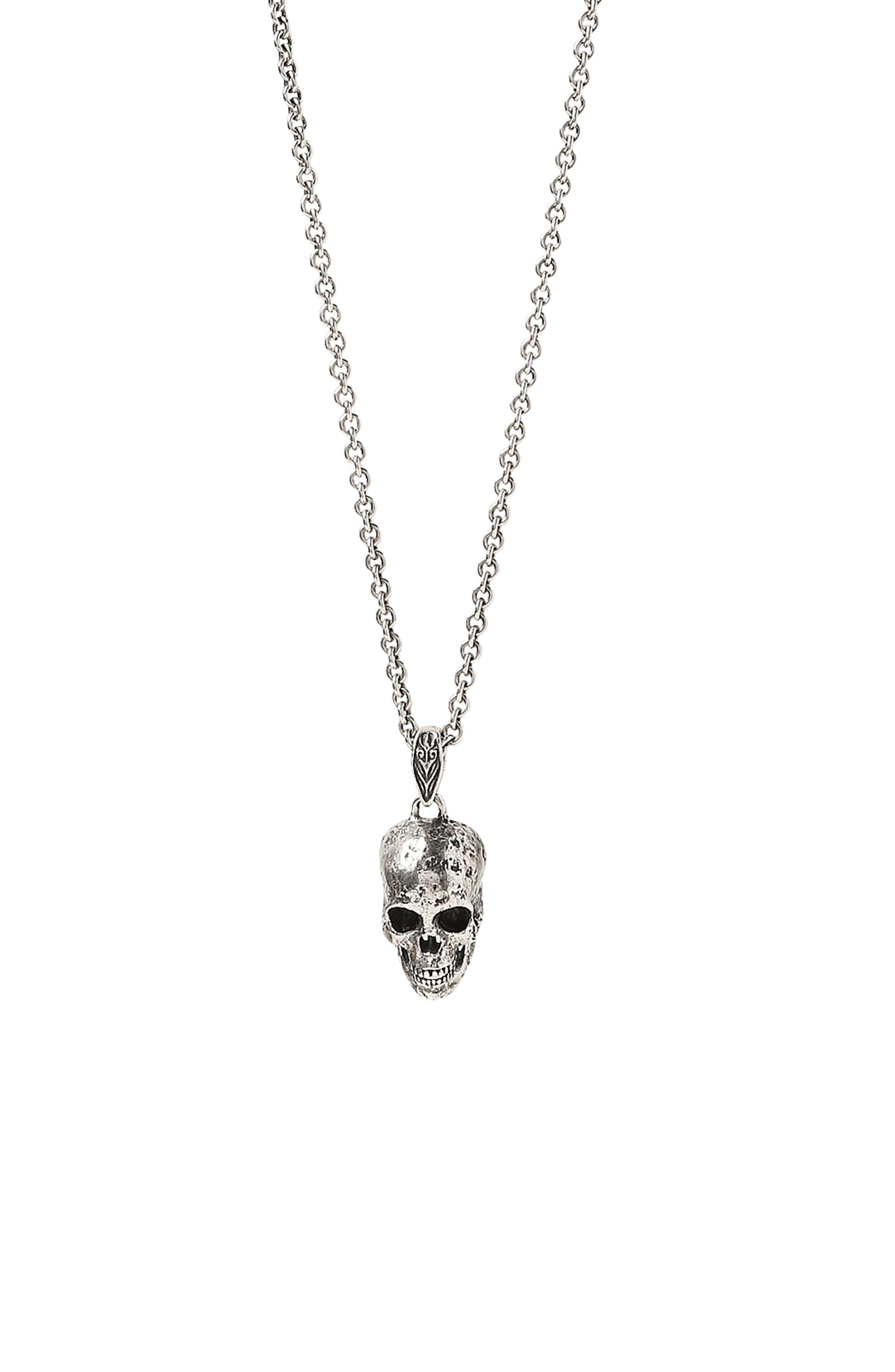 Distressed Skull Pendant Necklace