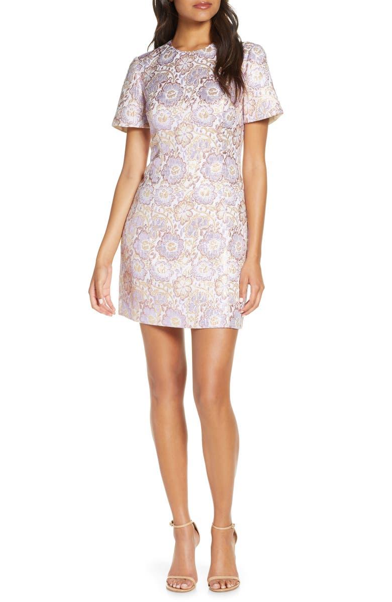 LILLY PULITZER<SUP>®</SUP> Gail Brocade Sheath Minidress, Main, color, LILAC VERBENA BLOOMING FLORAL