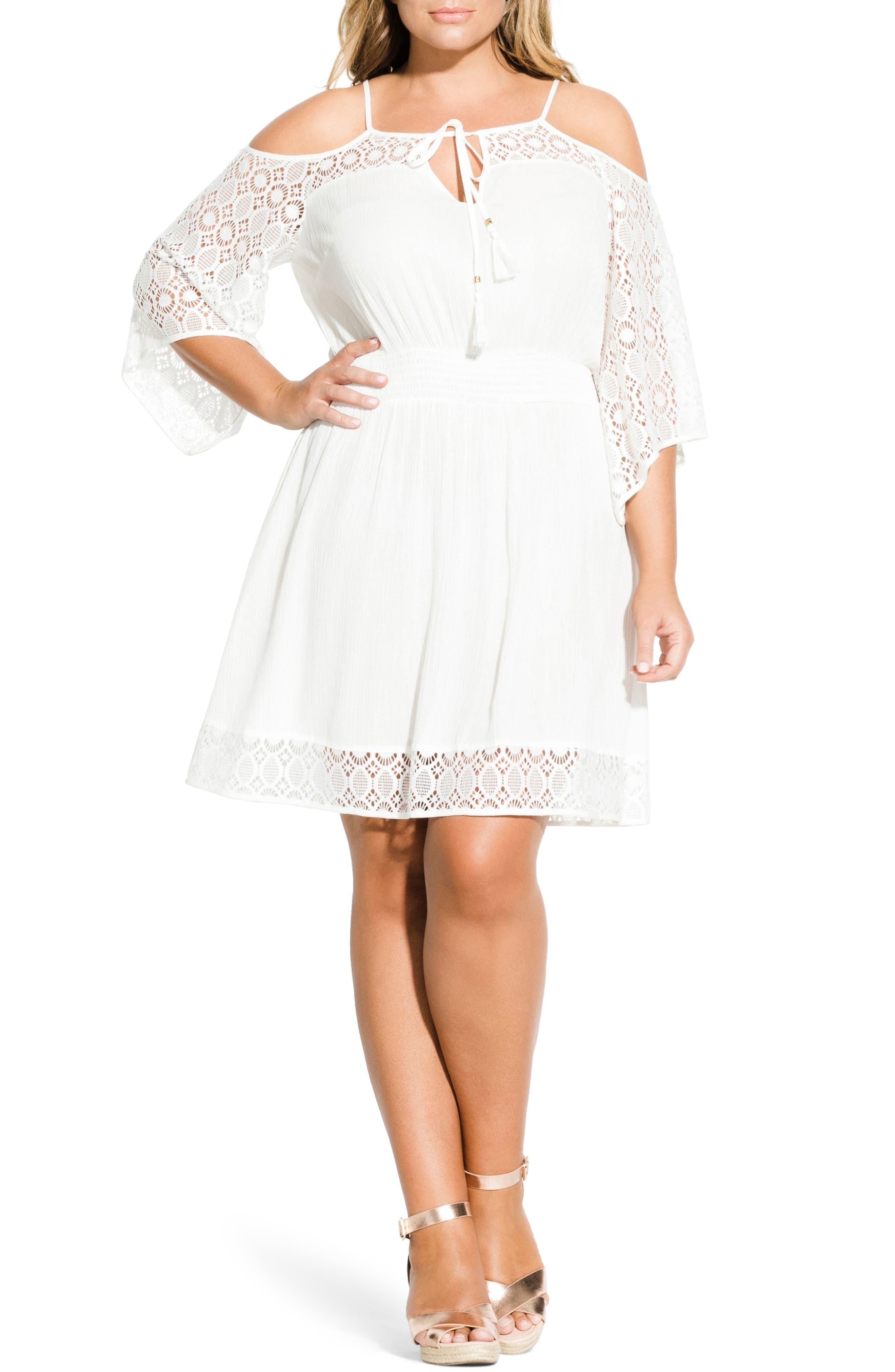 plus size women's city chic crochet cold shoulder dress, size xx-large - ivory