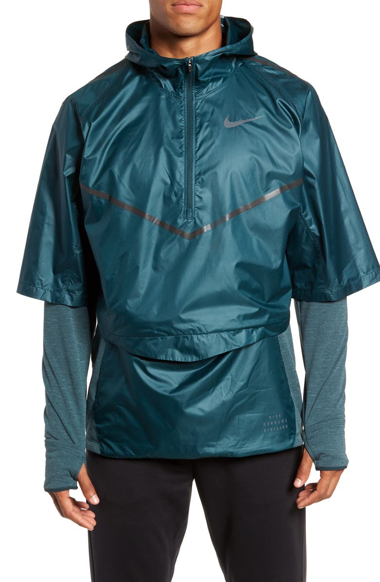 NIKE Sphere 2-Piece Water Repellent Running Shirt, Main, color, MIDNIGHT SPRUCE/ FADED SPRUCE