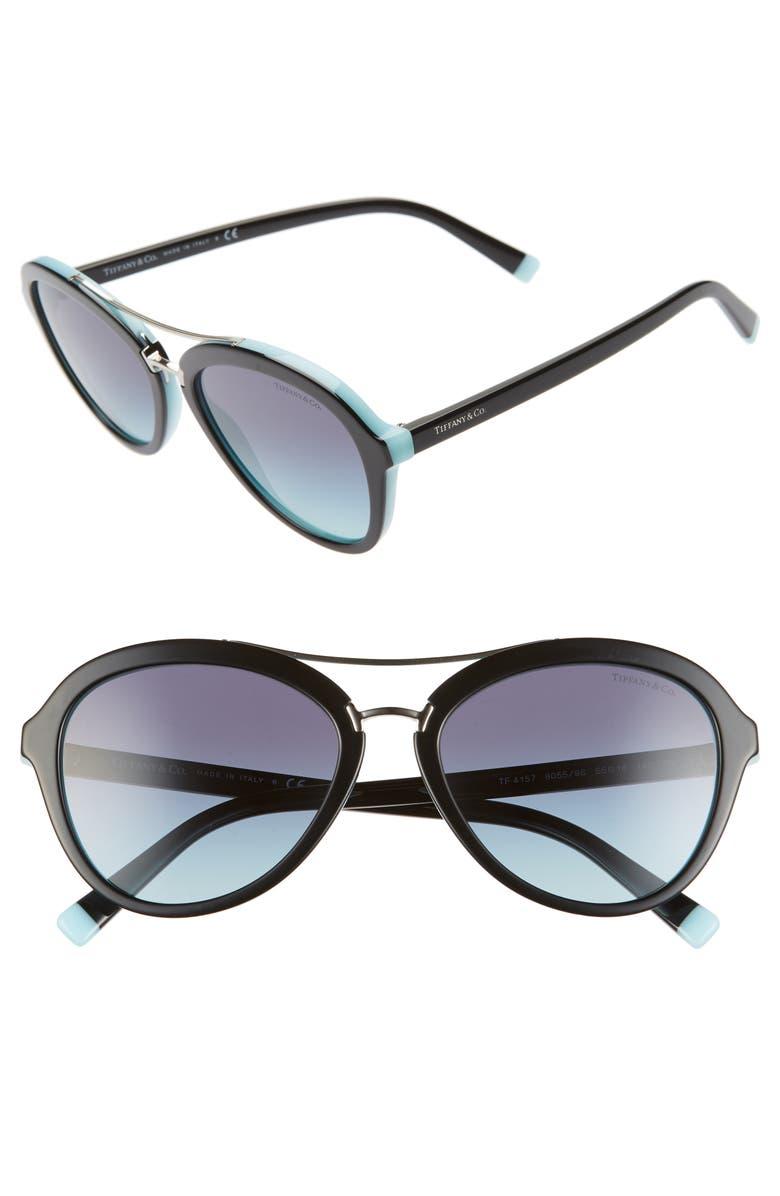 TIFFANY & CO. 55mm Gradient Aviator Sunglasses, Main, color, BLACK/ AZURE GRADIENT