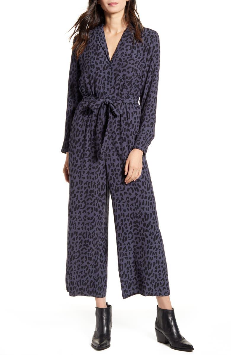 RAILS Callan Animal Print Long Sleeve Crop Jumpsuit, Main, color, AZURE LEOPARD