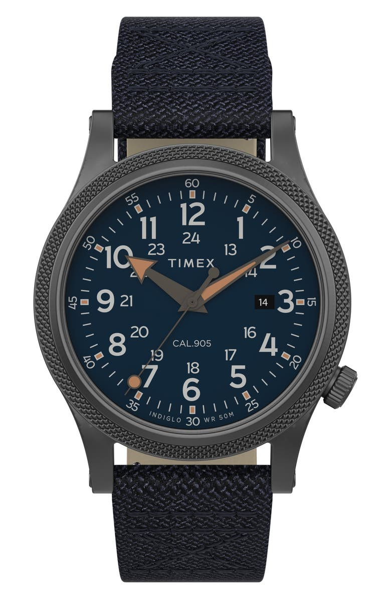TIMEX<SUP>®</SUP> Allied LT Nylon Strap Watch, 40mm, Main, color, BLUE/ GUNMETAL