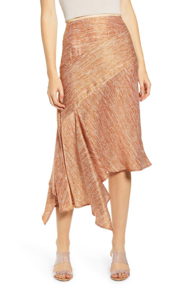 MOON RIVER Asymmetrical Midi Skirt, Main, color, BROWN/ WHITE