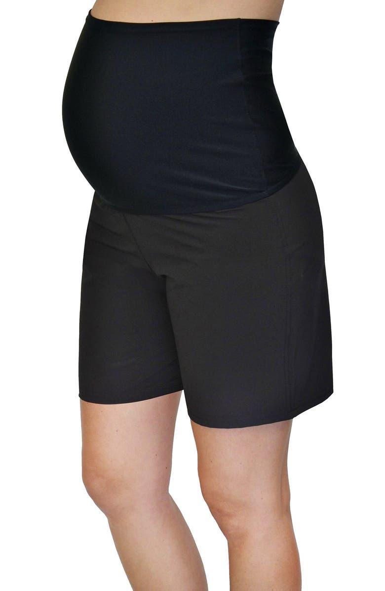 MERMAID MATERNITY Foldover Maternity Board Shorts, Main, color, BLACK