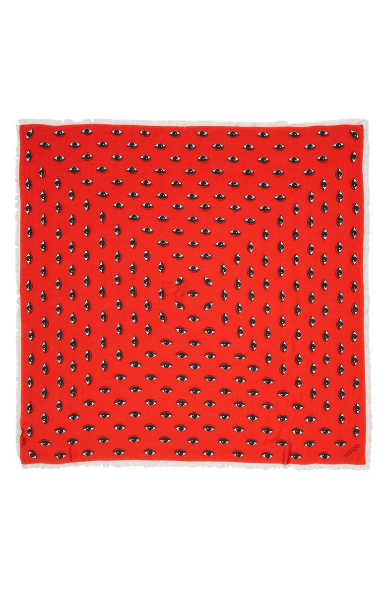 KENZO Multi Eyes Square Modal & Silk Scarf, Main, color, MEDIUM RED