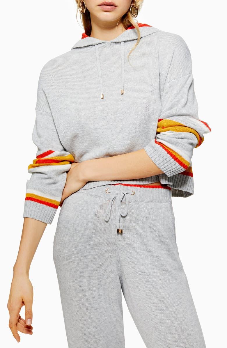 TOPSHOP Stripe Jogger Pants, Main, color, GREY